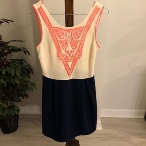 Super cute coral and navy dress Size Small